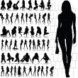 Hot and sexy girl vector silhouettes — Stock fotografie
