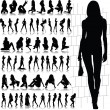 Hot and sexy girl vector silhouettes — Stock Photo