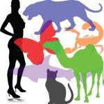Hot girl with animal illustration — Stock Photo
