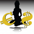 Hot girl with gold euro and dollar illustration — Stock Photo