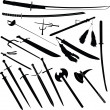 Various swords and battle — Stock Photo