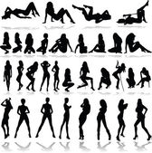 Hot girls illustration vector silhouettes — Stock Photo