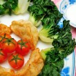 Stock Photo: Chinese dumplings and vegetables