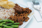 Malay vegetarian rendang chicken or mutton rice — Stock Photo