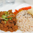 Malay vegetarian rendang chicken or mutton rice — Stockfoto
