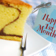 Stock Photo: Slice of butter cake and card