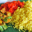 Healthy Indian vegetarian set meal - Stock Photo