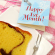 Slice of butter cake and card — Stock Photo