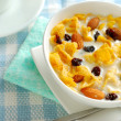 Breakfast cereal with soya bean milk — Stock Photo