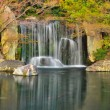 Waterfall in a Japanese zen garden - Stock Photo