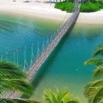 Wooden suspension bridge to paradise — Stock Photo #5845346