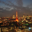 Twilight view of Tokyo tower — Stock Photo
