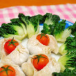 Chinese dumplings and vegetables — Stock Photo #5849966