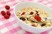 Spoonful of healthy and n utritious oatmeal — Stock Photo