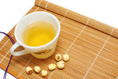 Green tea with Chinese alternative medicine — Stock Photo