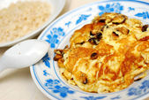 Fried or scrambled egg with rice — Stock Photo