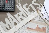 Closeup of markets text and financial graph — Stock Photo