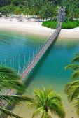 Trä hängbro till paradiset — Stockfoto
