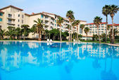 Huge swimming pool with luxurious resorts — Stock Photo