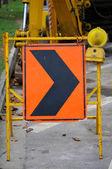 Righ arrow during construction — Stock Photo