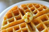 Delicious waffle breakfast — Stock Photo