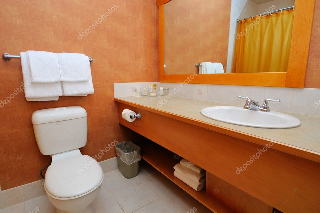 Luxurious washroom with toilet bowl and wash basin. — Stock Photo #5845454