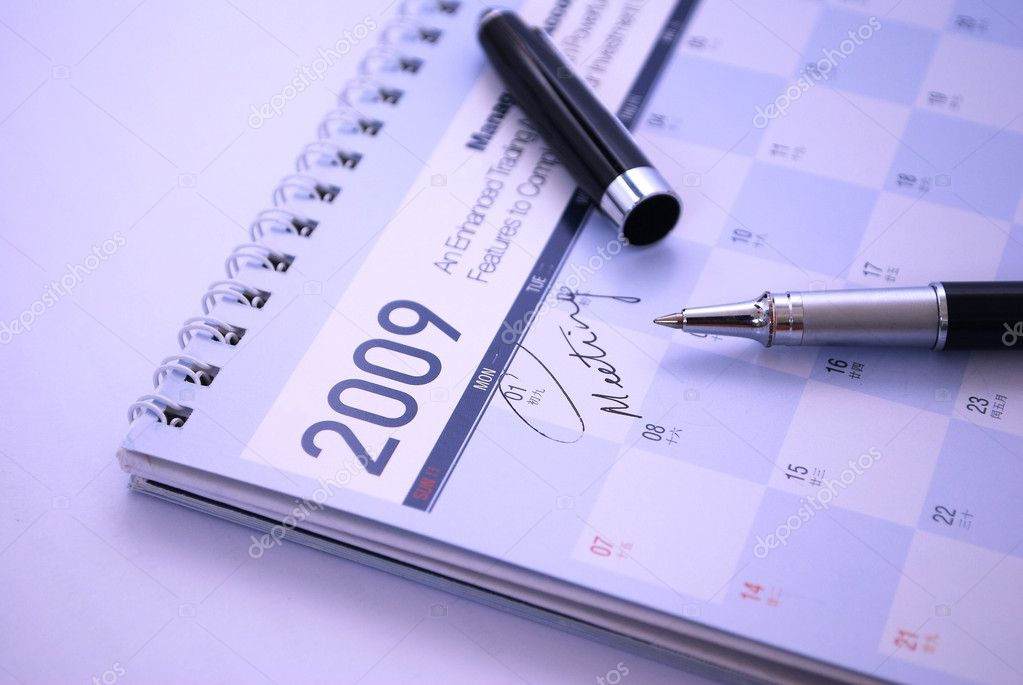 Fountain pen and calendar with the date of meeting appointment circled. Suitable for concepts such as business meetings and appointments, executive concepts and — Stock Photo #5845688