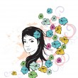Girl and flowers grunge - Stock Vector