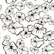 Floral seamless Black and White background - Stock Vector