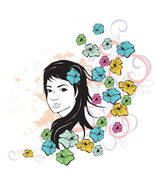 Girl and flowers grunge — Stock Vector