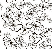 Floral seamless Black and White background — Stock Vector