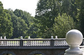 The bridge of castle d Ursel with white ball — Stock Photo