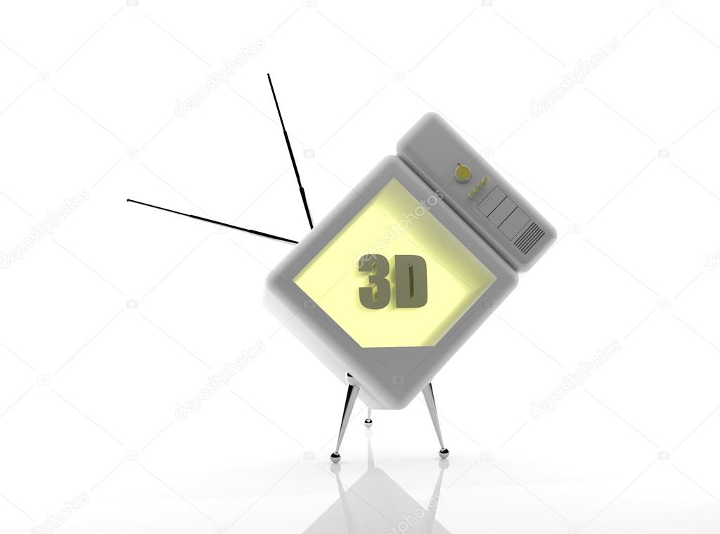 Old white TV - 3D render — Stock Photo #5895047