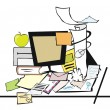 Messy desk — Stock Vector