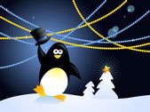 Christmas penguin — Stock Vector