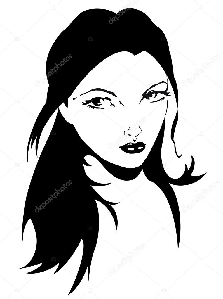 Simple black and white portrait of girl  Stock Vector #5824262