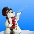Snowman with broom — Foto Stock