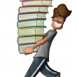 Boy holding a lot of books - Stock Photo