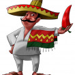 The mexican and the jalapeno - Foto Stock