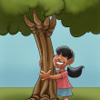 A young girl huging a young tree — Stok fotoğraf