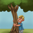 A young boy huging a young tree - Stock Photo