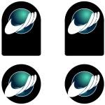 Hand globe logo — Stock Photo