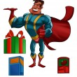 Super hero with products — Stock Photo