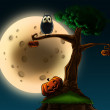 Halloween tree with pumpkins — Stock Photo