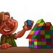 Kid with toy house — Stock Photo