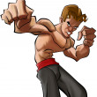 Cartoon martial art fighter - Stock Photo