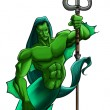Mythical figure with trident - Stockfoto