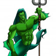 Mythical figure with trident - Stock Photo