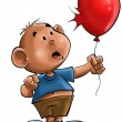 The boy with the balloon - Stock Photo
