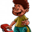 Little boy with a car - Stock Photo